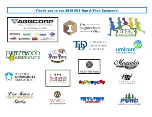 17 local business logos that sponsored the Run-a-thon - Vaggcorp, The Neighborhood Office, Otero Homes, Breezewood Gardens & Gifts, Mrs. Mantz's Purple Pants Art STudio, Thrasher, Dinsmore & Dolan, umicore, Kenston Community Educaiton, heinen's, AliCat's Hat Studio, Mazzulo's , Fun-n-Stuff, Dentistry at Winbury, Lisa Renee's Dance-Enrichment Studios, Minich Orthodontics, First Flips Gymnastics, The Pond